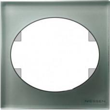 Рамка одноместная ABB Tacto (серебрянное стекло)