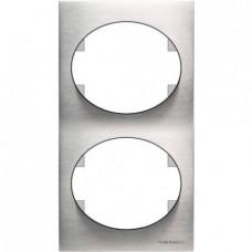 Рамка двухместная вертикальная ABB Tacto (сталь)