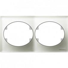 Рамка двухместная горизонтальная ABB Tacto (белое стекло)