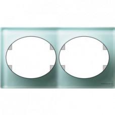 Рамка двухместная горизонтальная Tacto (стекло лазурь)