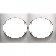 Рамка двухместная горизонтальная ABB Tacto (сталь)