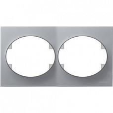 Рамка двухместная горизонтальная ABB Tacto (серебристая)