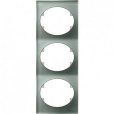 Рамка трехместная вертикальная ABB Tacto (серебрянное стекло)