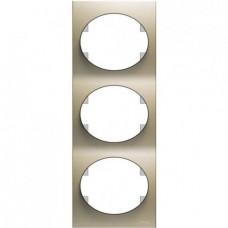 Рамка трехместная вертикальная ABB Tacto (шампань)