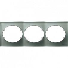 Рамка трехместная горизонтальная ABB Tacto (серебрянное стекло)