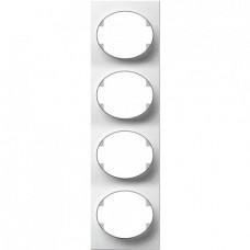 Рамка четырехместная вертикальная ABB Tacto (белая)