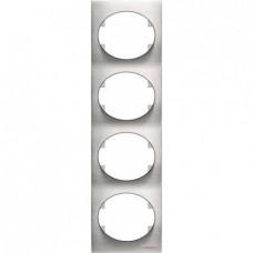 Рамка четырехместная вертикальная ABB Tacto (сталь)