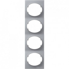 Рамка четырехместная вертикальная ABB Tacto (серебристая)