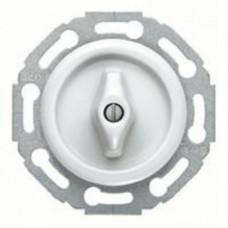 Поворотный перекрестный выключатель/переключатель (вкл/выкл с 3-х мест), материал ручки - пластик белый глянцевый