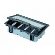 Лючок для наливного пола Simon Connect на 4 s-модуля (графит) c монтажной коробкой